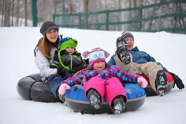 snowtubing in the mountains