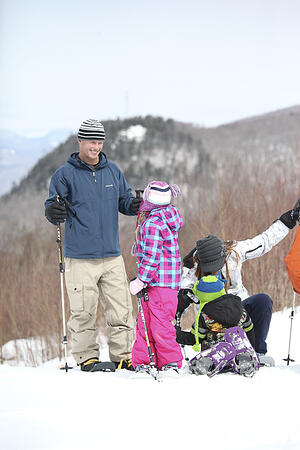 snowshoeing in white mountains