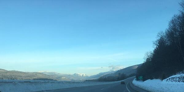 driving to the white mountains